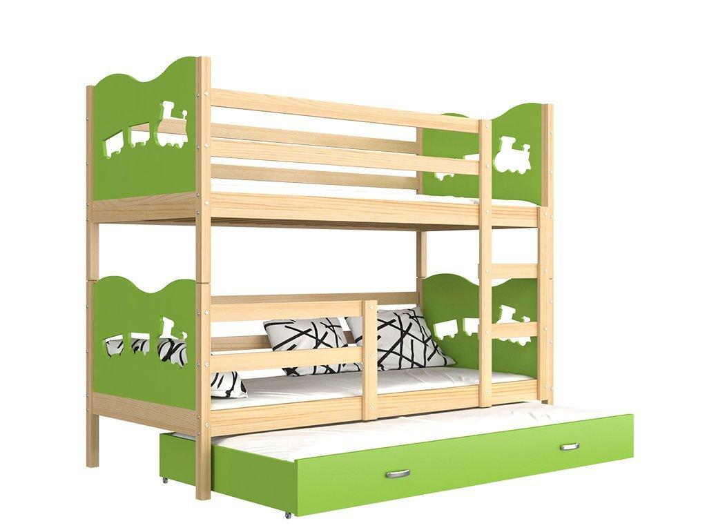 Fox 3 emeletes ágy pótággyal 190x80 zöld - www.emeletes-agyak.hu be54bc3449