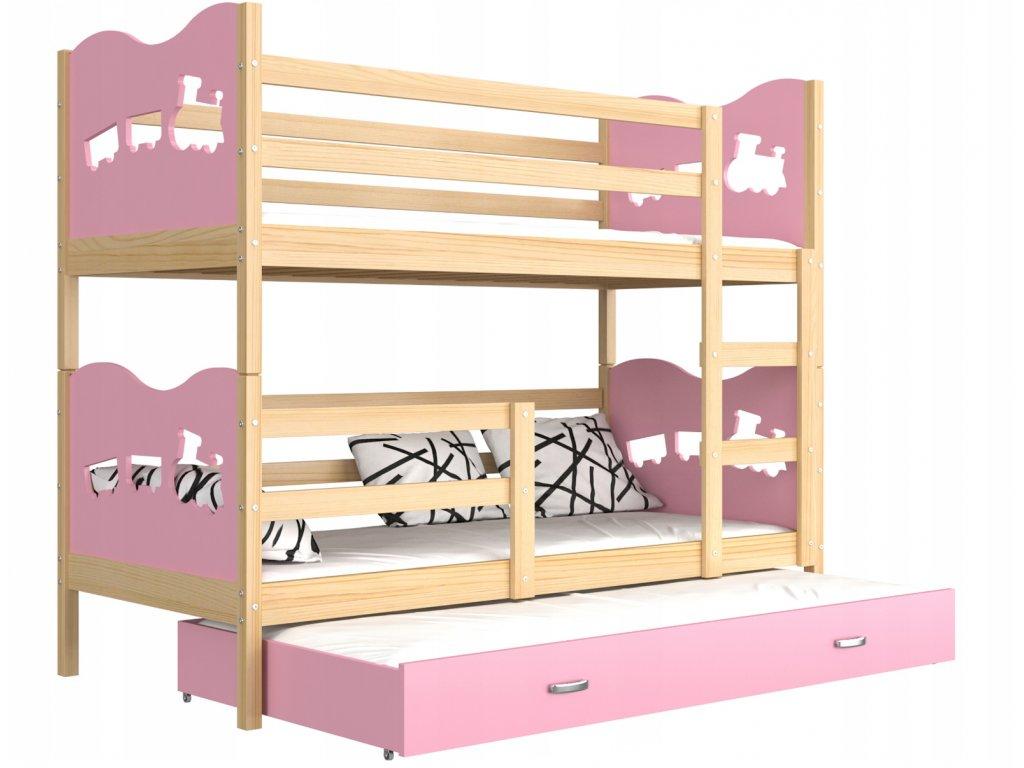 Fox 3 rózsaszín 190x80 emeletes gyerekágy pótággyal - www.emeletes ... 87c7d1253d