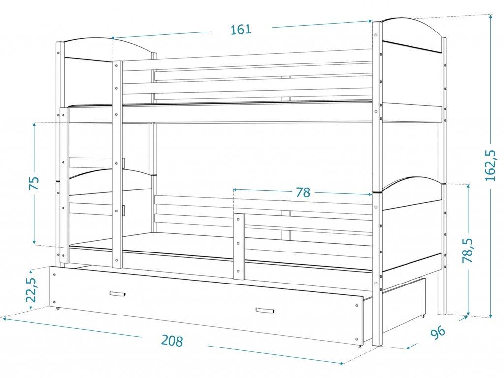 Poschodová posteľ Matúš 3 biela MDF s prístelkou