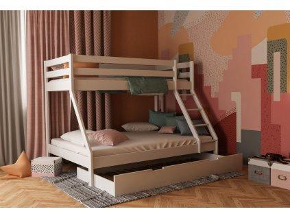 Mikael Fehér emeletes ágy 140x200 kiszélesített alsó fekhellyel + pótágy