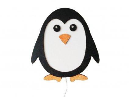Detská lampička Tučniak - drevená handmande nočná lampička pre deti