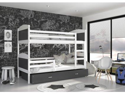 MÁTYÁS FEHÉR emeletes ágy tároló fiókkal Szürke színben