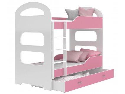 Patrik 160x80 Rózsaszín emeletes ágyak