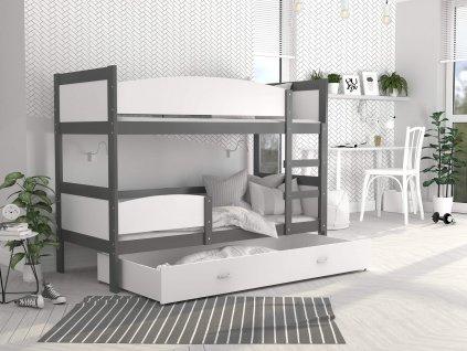 Swing 2 Grafit MDF emeletes ágy tároló fiókkal 190x80