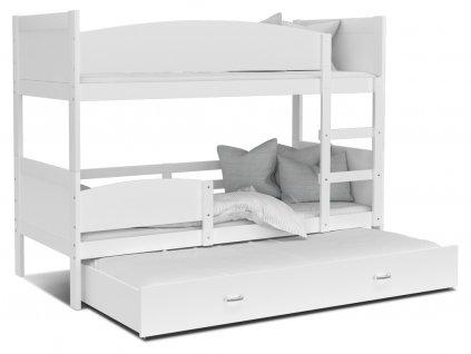 Swing 3 fehér MDF emeletes ágy pótággyal és tárolóval 190x80