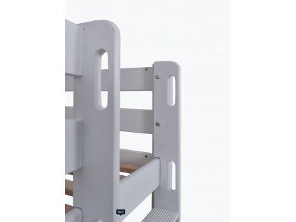 Oliver 200x90 tömör bükkfa emeletes ágy, fehér