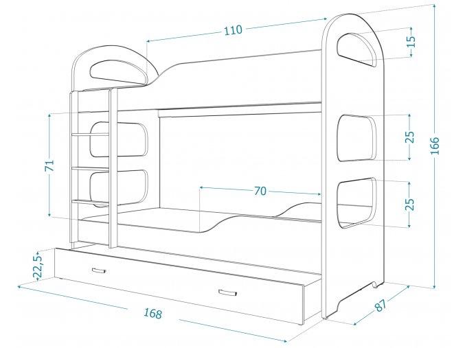 Patrik 160x80 kék emeletes ágy