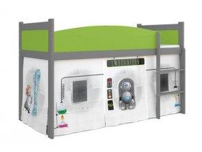 Szürke gyerekágy magasított fekhellyel Swing laboratórium 03 ágyrács + matrac ingyen