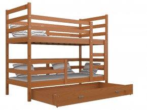 Emil 190x80 Égerfa emeletes ágyak matracokkal, ágyrácsokkal és rakodó fiókokkal