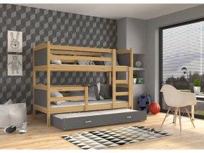 Mátyás 3 borovi COLOR emeletes ágy pótággyal