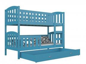 Lukács color 190x80 emeletes ágy tároló rekesszel, kék