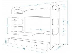 Patrik 180x80 fehér emeletes ágy