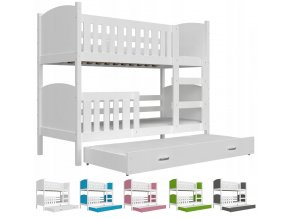 Dobby 3 Color fehér emeletes ágy három személynek 190x80 – többféle szín
