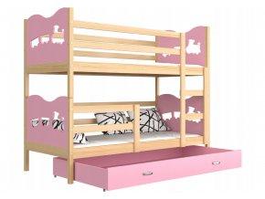 Fox 190x80 rózsaszín  emeletes ágy