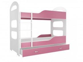 Patrik 180x80 rózsaszín emeletes ágy
