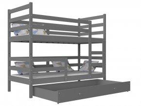 Szürke emeletes ágy Janik 190x80 MDF