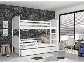 Mátyás fehér MDF emeletes ágy tároló fiókkal 190x80