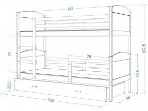 Mates fehér MDF emeletes ágy tároló fiókkal 190x80