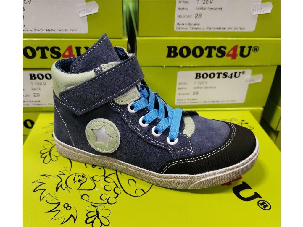 Celoroční kožená obuv Jonap 028SV modrá hvězda