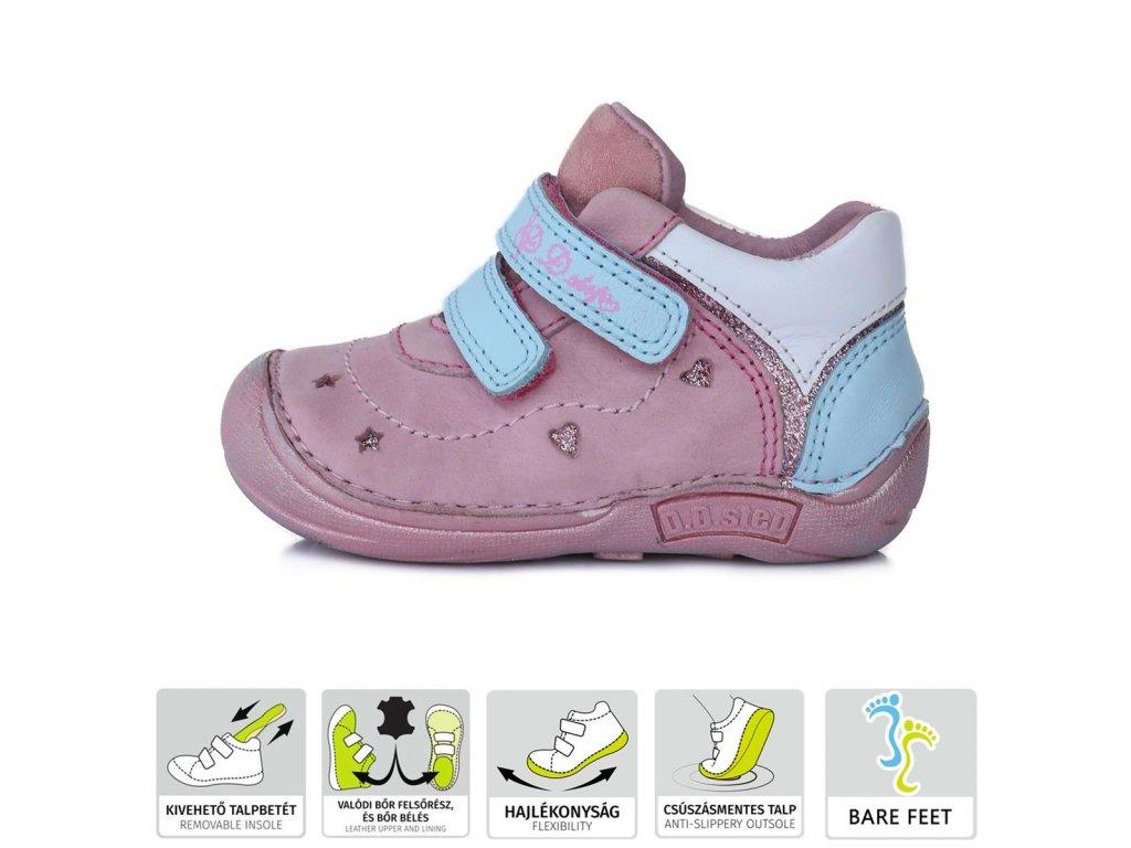 Celoroční kožená Barefoot bota D.D.Step 018-43 růžová
