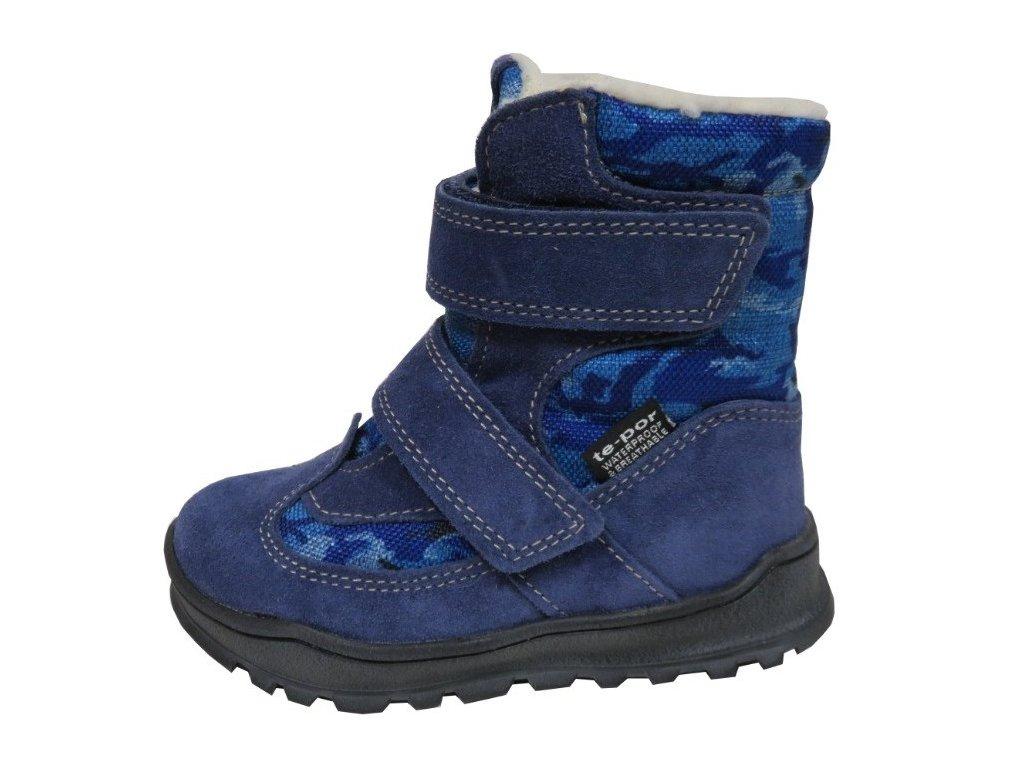 Zimní obuv Jonap 024/S modrá maskáč s membránou TE-POR