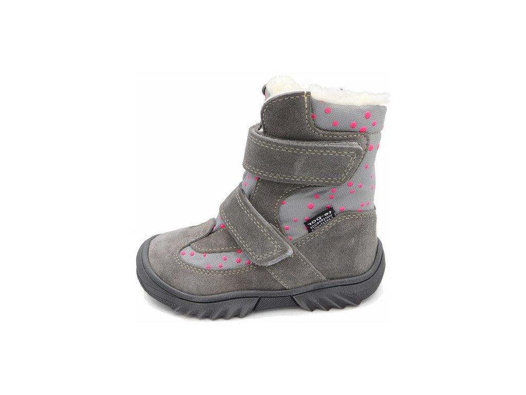 Zimní obuv Jonap 024/N šedá puntík s membránou TE-POR
