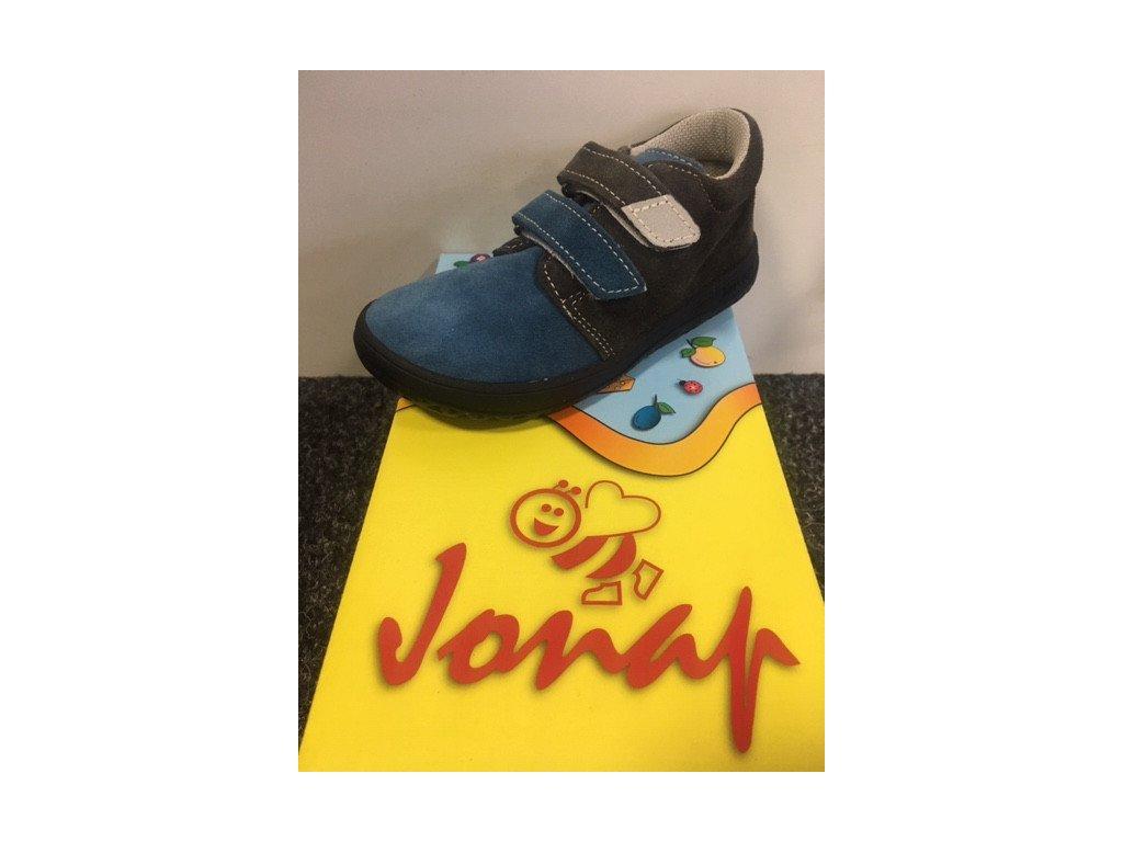 Celoroční kožená Barefoot obuv Jonap B1SV modr/šedá