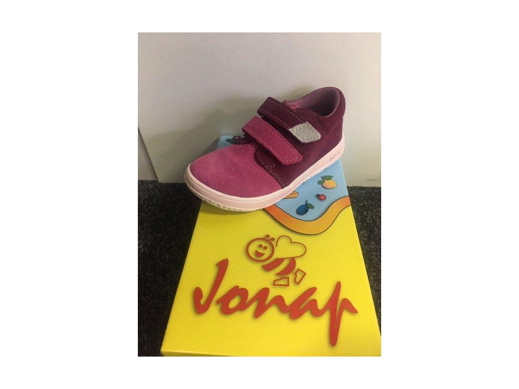 Celoroční kožená Barefoot bota Jonap B1SV vino/růžová