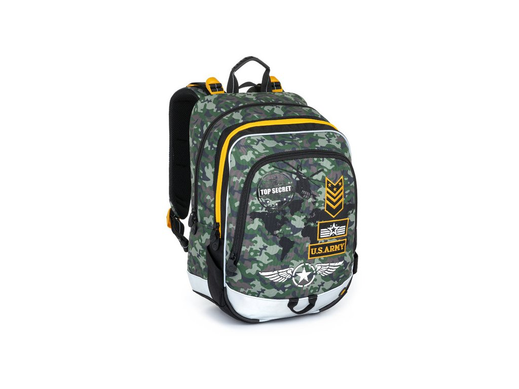 Školní batoh pro prvňáčky Bagmaster ALFA 8 D GRAY/GREEN/BROWN