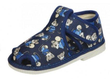 Chlapecká domácí obuv, papučky Čechtín 805 na suchý zip
