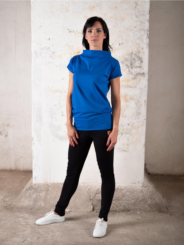 tunika kratky rukav stojacek kralovska modra zepredu