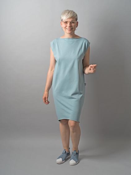 šaty kratky rukav modra