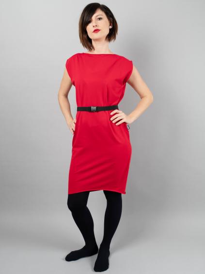 Šaty ADELE krátký rukáv červená