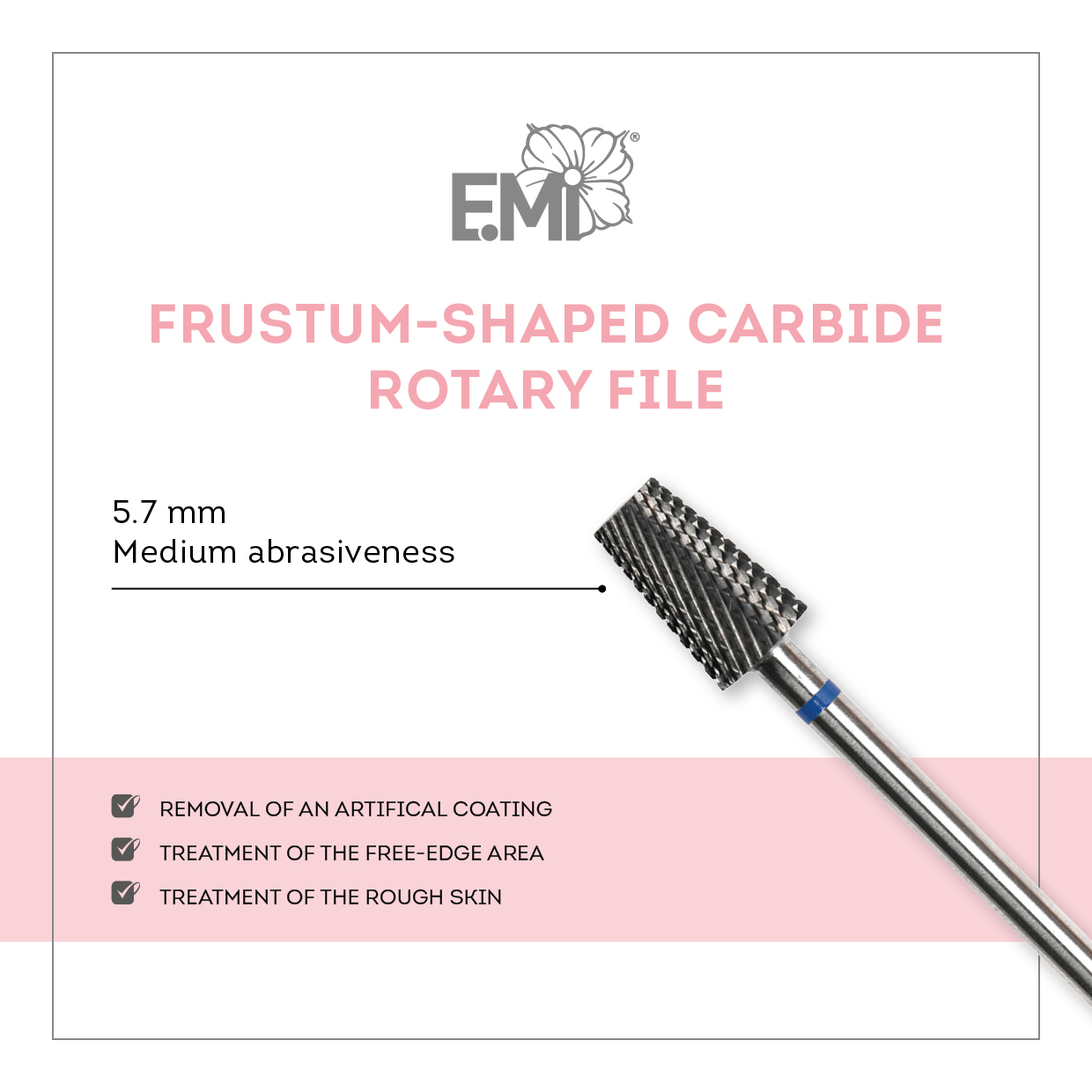 Frustum shaped carbide rotary file SQUARE