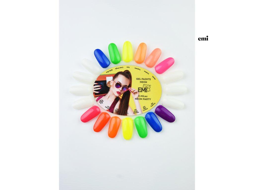 Vzorník «Paletka» gelové barvy NEON + E.MiLac NEON PARTY