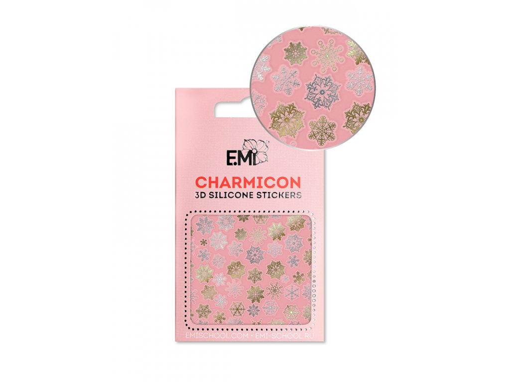 Charmicon 3D Silicone Stickers #151 Snowflakes GoldSilver