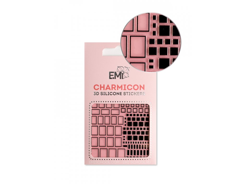 Charmicon 3D Silicone Stickers #160 Squares Black
