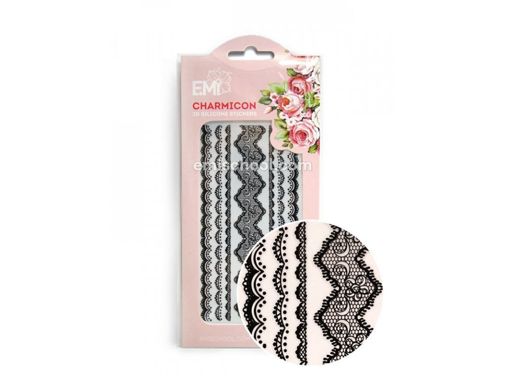 Charmicon 3D Silicone Stickers Lace Black