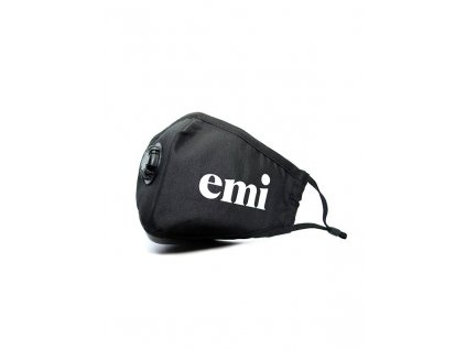 Respirační maska černá, logo emi