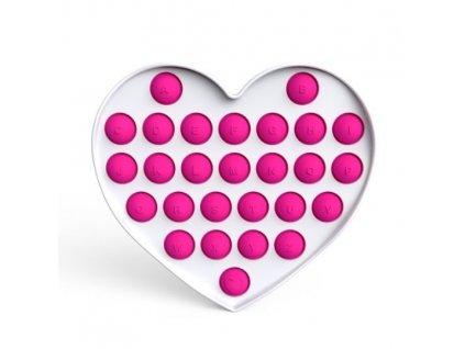 Pop it Fidgetová antistresová hra růžové srdce abeceda