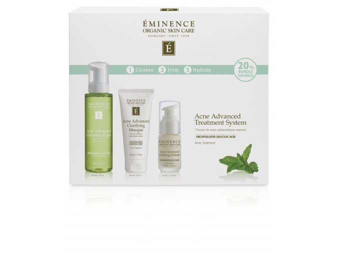 Eminence Organics Acne Advanced Treatment System box front USD
