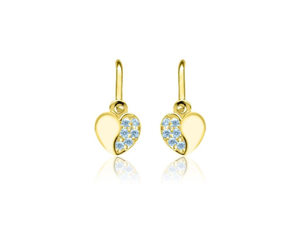 dětské náušnice žluté zlato s kamínky světle modrými srdíčka zapínání brizura emmys EM70585