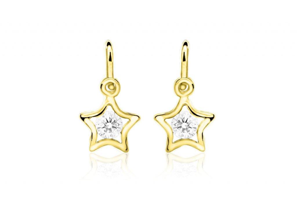 dětské náušnice žluté zlato s kamínky bílými hvězdičky zapínání brizura emmys EM70387