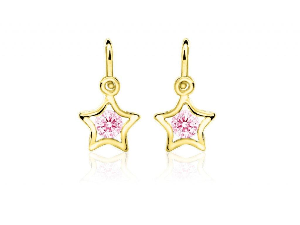 dětské náušnice žluté zlato s kamínky růžovými hvězdičky zapínání brizura emmys EM70387