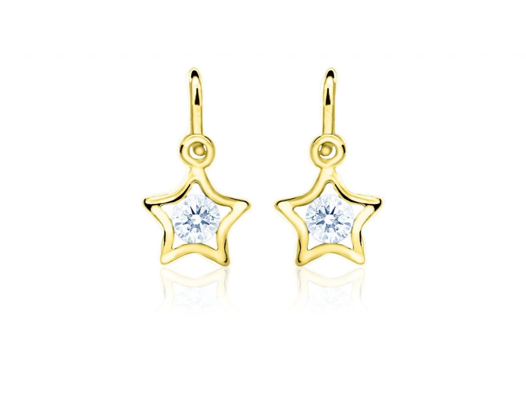 dětské náušnice žluté zlato s kamínky světle modrými hvězdičky zapínání brizura emmys EM70387
