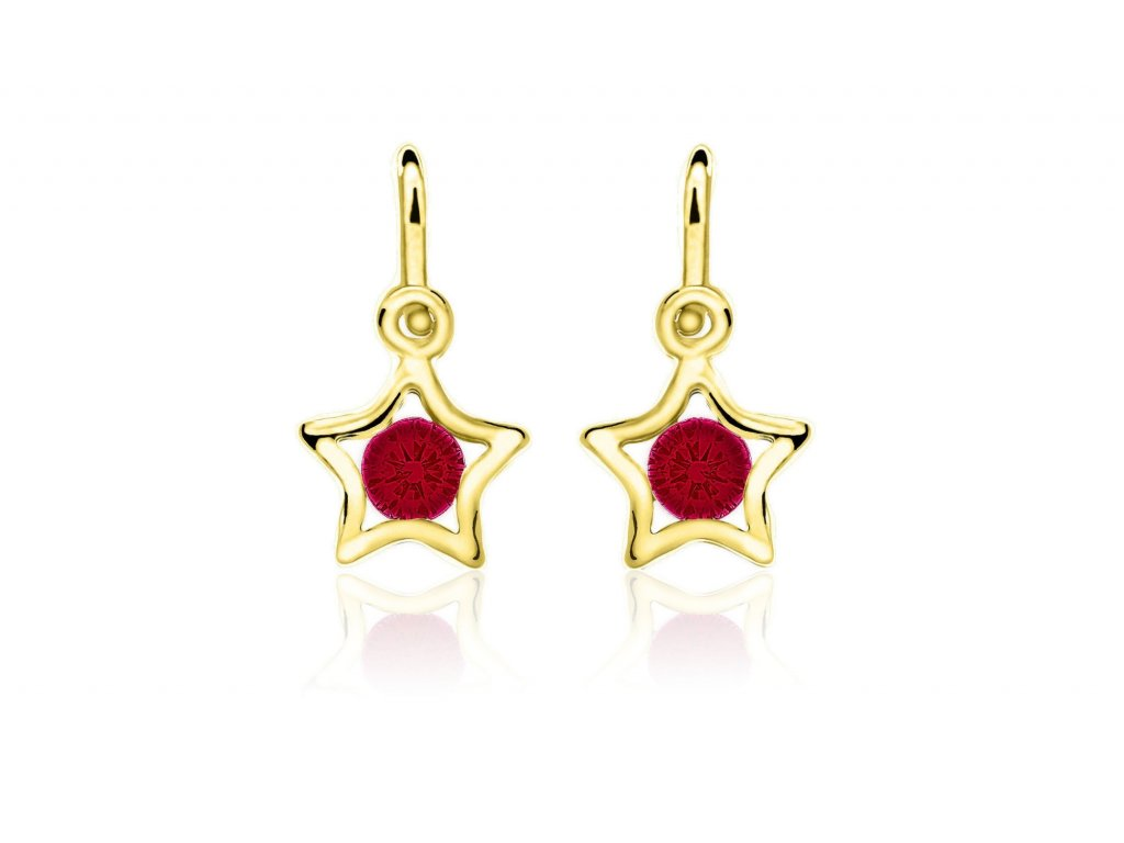 dětské náušnice žluté zlato s kamínky červenými hvězdičky zapínání brizura emmys EM70387