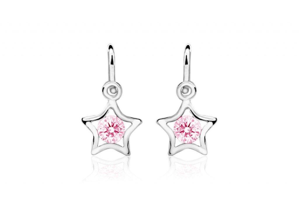 dětské náušnice bílé zlato s kamínky růžovými hvězdičky zapínání brizura emmys EM70387