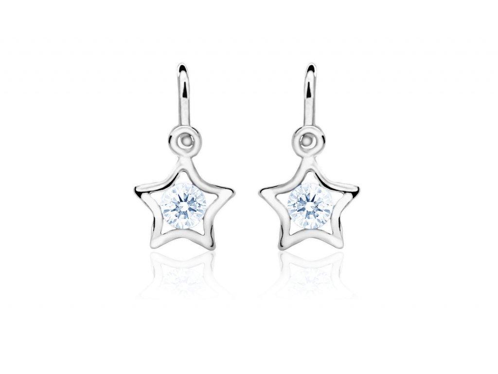 dětské náušnice bílé zlato s kamínky světle modrými hvězdičky zapínání brizura emmys EM70387