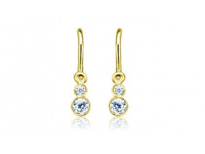 dětské náušnice žluté zlato s kamínky světle modrými lucky zapínání brizura emmys EM70356