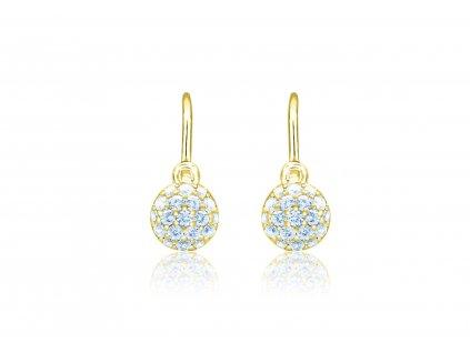 dětské náušnice žluté zlato s kamínky světle modrými kulaté zapínání brizura emmys EM70414